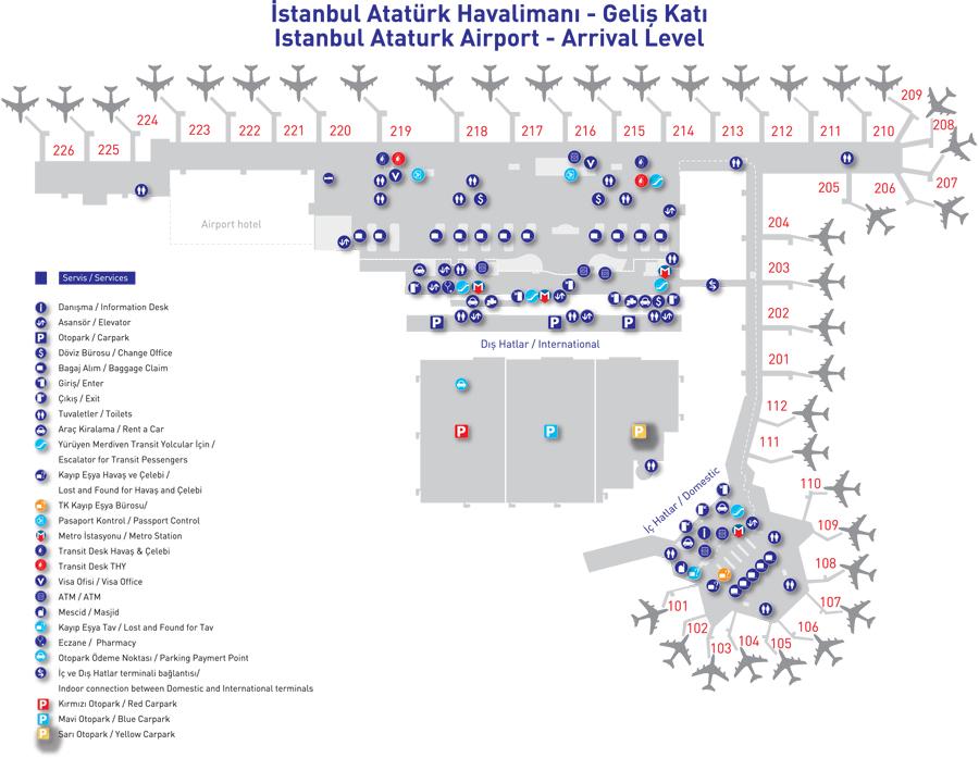 карта зала прилета аэропорта Ататюрк в Стамбуле (кликабельна) .