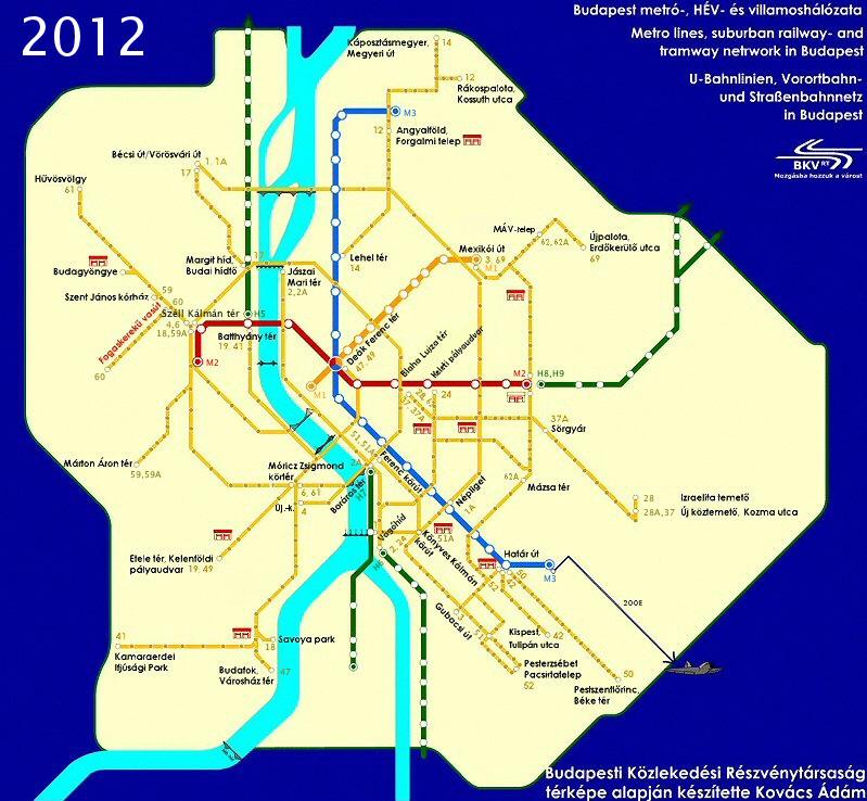 Метро Будапешта: карта метро