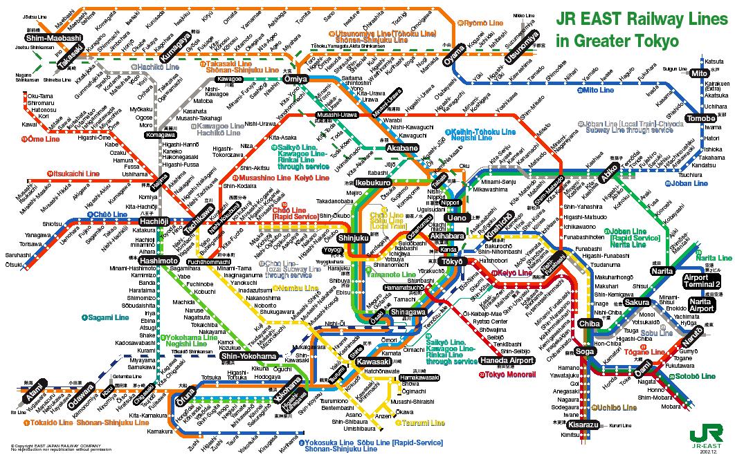 Метро Токио: современная карта
