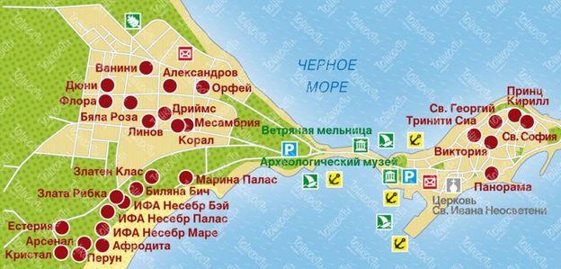 Карта Несебра с отелями
