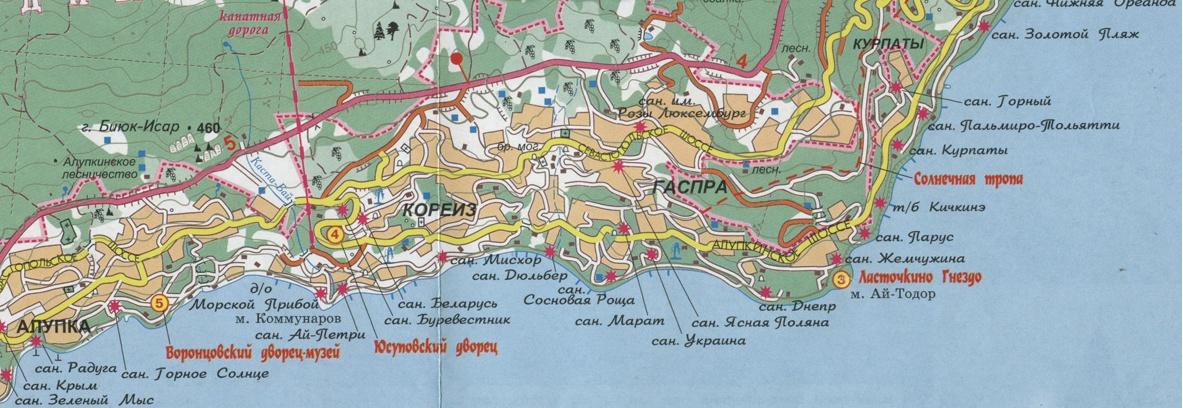карта гаспра с улицами