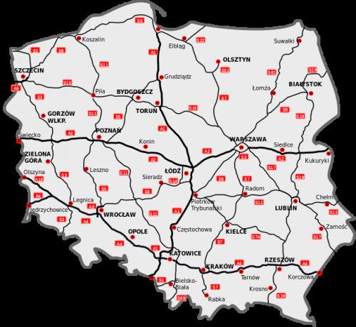 Карта дорог Польши